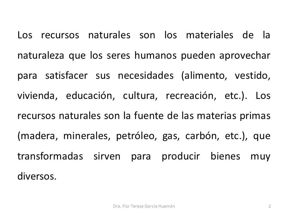 Los recursos naturales son los materiales de la naturaleza que los seres humanos pueden aprovechar para satisfacer sus necesidades (alimento, vestido,