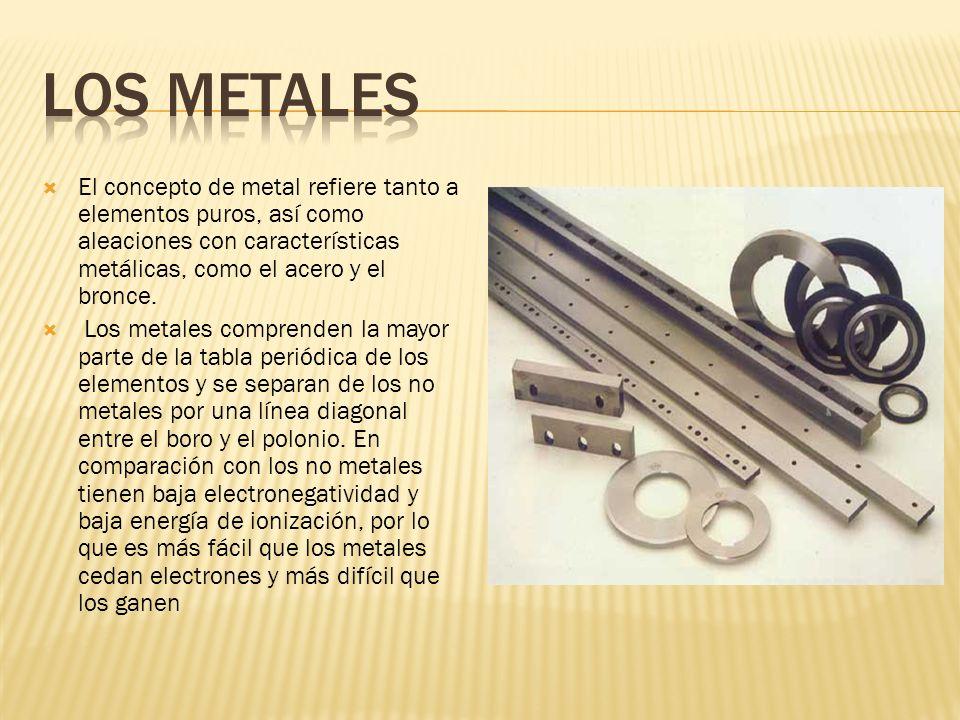 El concepto de metal refiere tanto a elementos puros, así como aleaciones con características metálicas, como el acero y el bronce. Los metales compre
