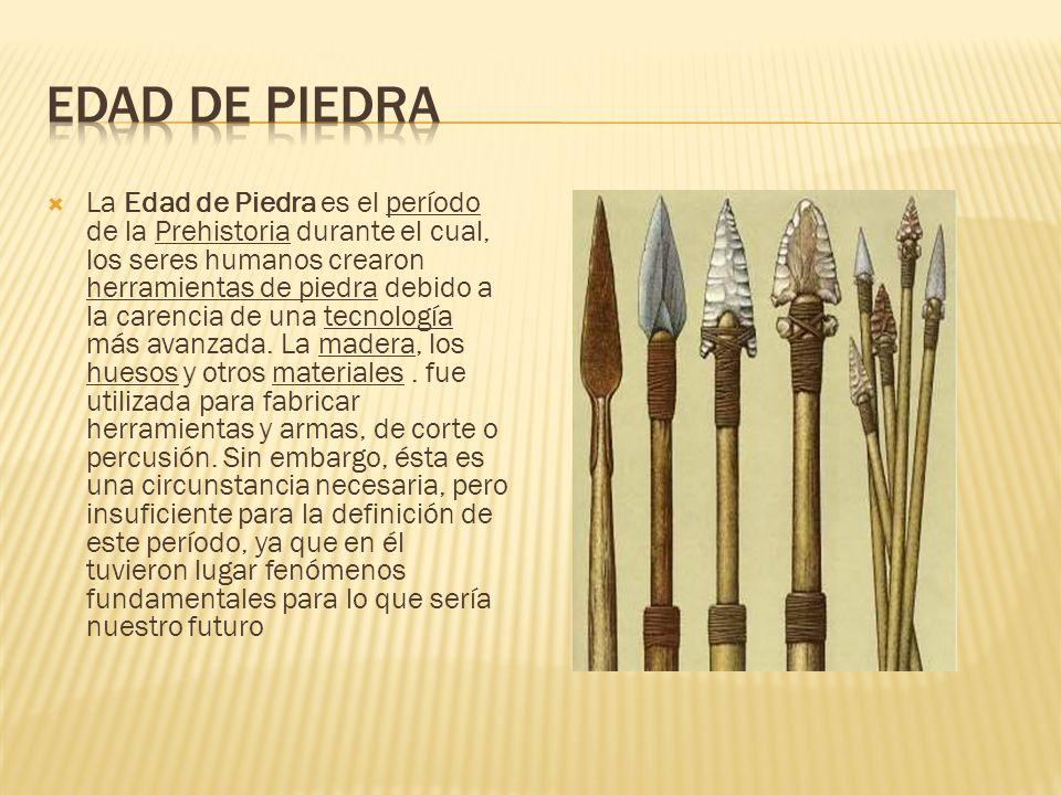 La Edad de Piedra es el período de la Prehistoria durante el cual, los seres humanos crearon herramientas de piedra debido a la carencia de una tecnol