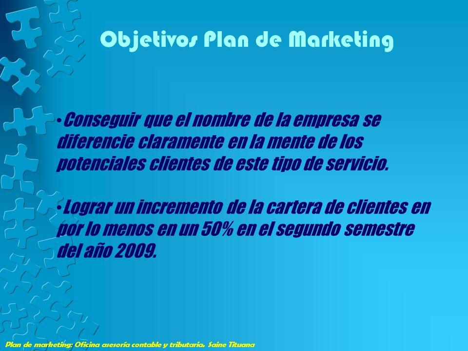Plan de marketing: Oficina asesoría contable y tributaria. Saine Tituana Objetivos Plan de Marketing Conseguir que el nombre de la empresa se diferenc