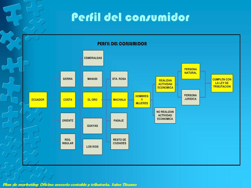 Plan de marketing: Oficina asesoría contable y tributaria. Saine Tituana Perfil del consumidor