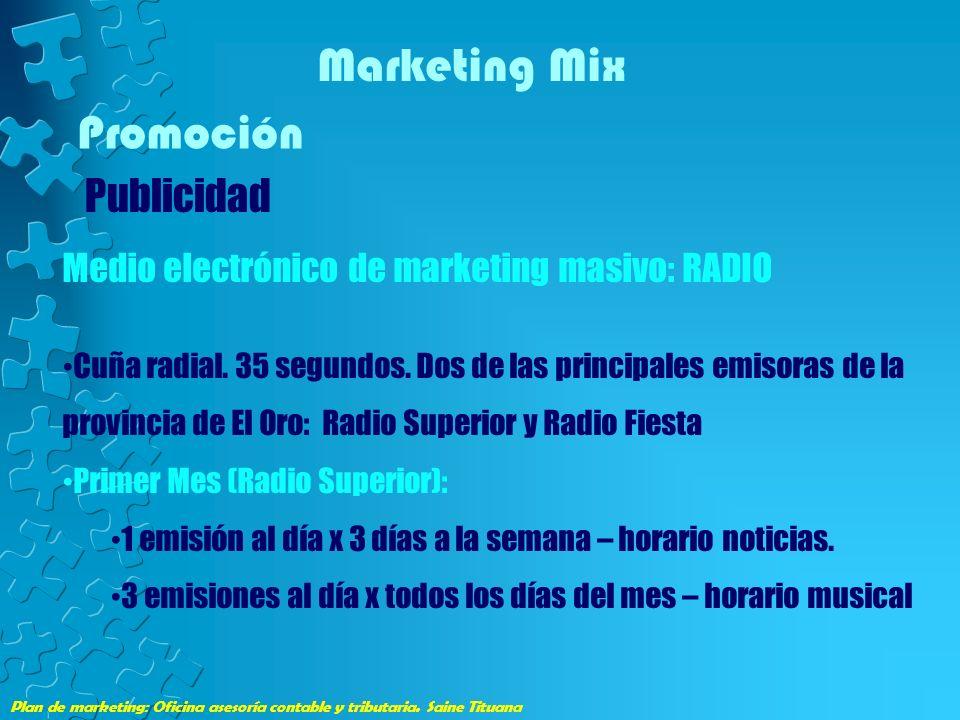 Plan de marketing: Oficina asesoría contable y tributaria. Saine Tituana Marketing Mix Promoción Publicidad Medio electrónico de marketing masivo: RAD