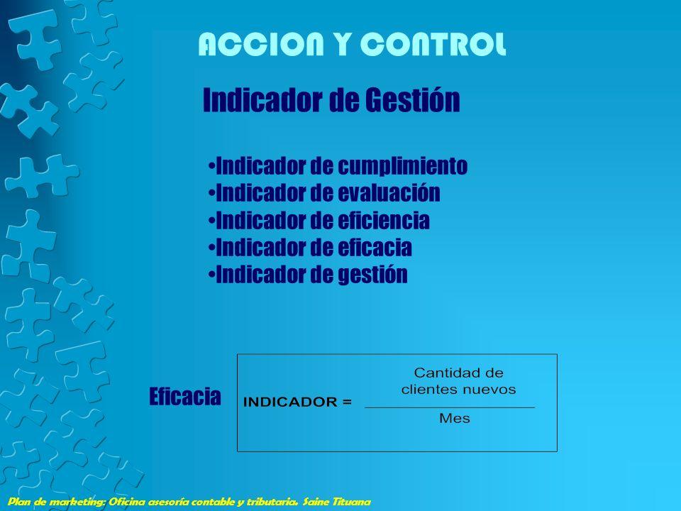 Plan de marketing: Oficina asesoría contable y tributaria. Saine Tituana ACCION Y CONTROL Indicador de Gestión Indicador de cumplimiento Indicador de