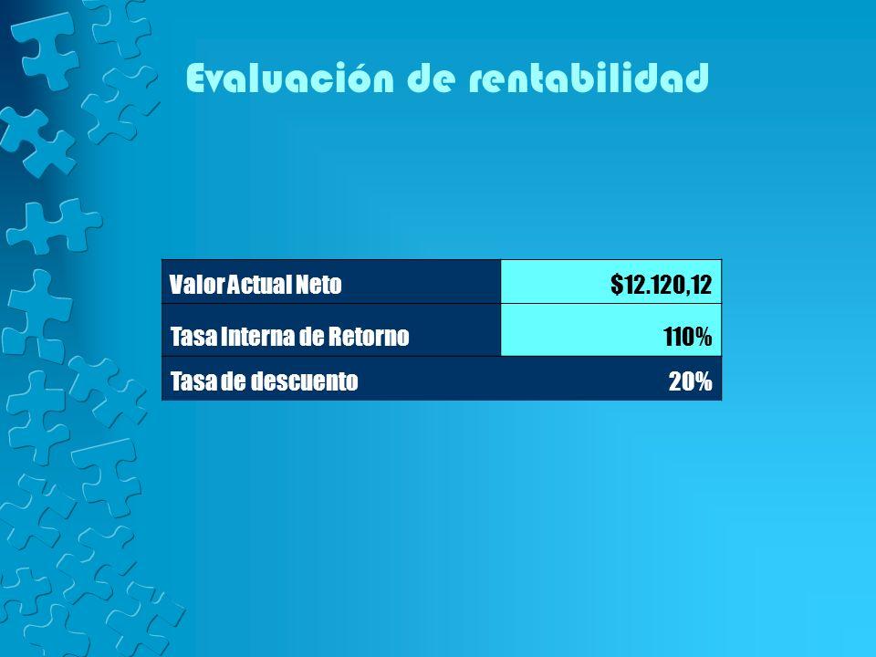 Valor Actual Neto$12.120,12 Tasa Interna de Retorno110% Tasa de descuento20% Evaluación de rentabilidad