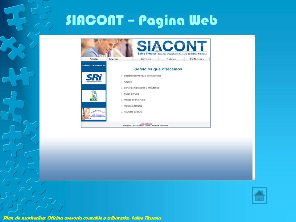 Plan de marketing: Oficina asesoría contable y tributaria. Saine Tituana SIACONT – Pagina Web