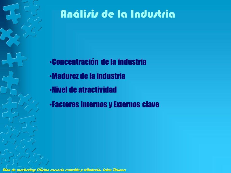 Plan de marketing: Oficina asesoría contable y tributaria. Saine Tituana Análisis de la Industria Concentración de la industria Madurez de la industri