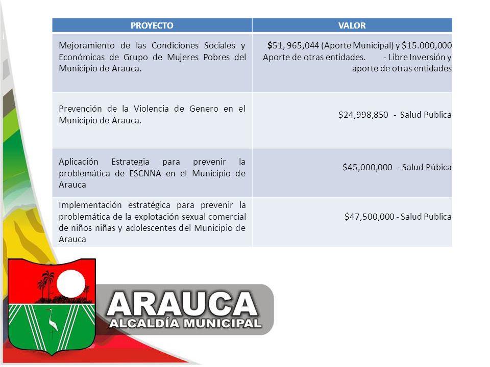 PROYECTOVALOR Mejoramiento de las Condiciones Sociales y Económicas de Grupo de Mujeres Pobres del Municipio de Arauca. $51, 965,044 (Aporte Municipal