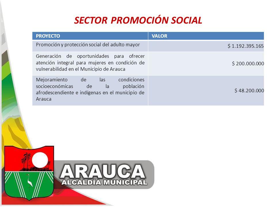 SECTOR PROMOCIÓN SOCIAL PROYECTOVALOR Promoción y protección social del adulto mayor $ 1.192.395.165 Generación de oportunidades para ofrecer atención