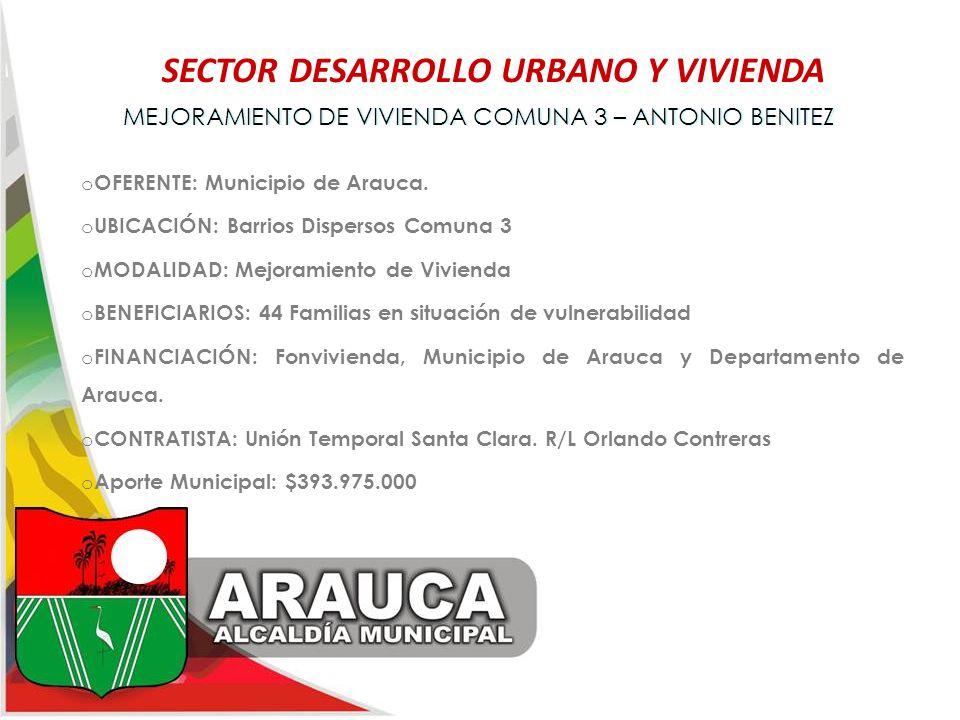 SECTOR DESARROLLO URBANO Y VIVIENDA MEJORAMIENTO DE VIVIENDA COMUNA 3 – ANTONIO BENITEZMEJORAMIENTO DE VIVIENDA COMUNA 3 – ANTONIO BENITEZ o OFERENTE: