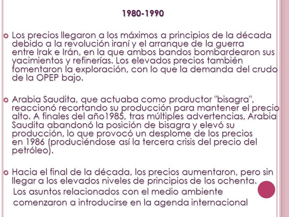 1980-1990 1980-1990 Los precios llegaron a los máximos a principios de la década debido a la revolución iraní y el arranque de la guerra entre Irak e