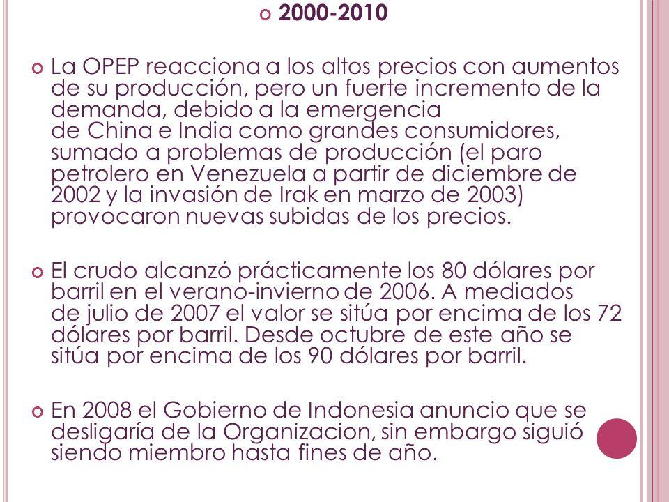 2000-2010 La OPEP reacciona a los altos precios con aumentos de su producción, pero un fuerte incremento de la demanda, debido a la emergencia de Chin