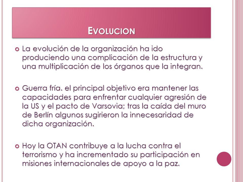 E VOLUCION La evolución de la organización ha ido produciendo una complicación de la estructura y una multiplicación de los órganos que la integran. L