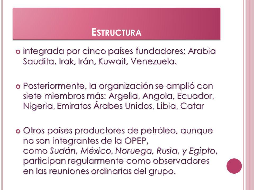E STRUCTURA integrada por cinco países fundadores: Arabia Saudita, Irak, Irán, Kuwait, Venezuela. integrada por cinco países fundadores: Arabia Saudit