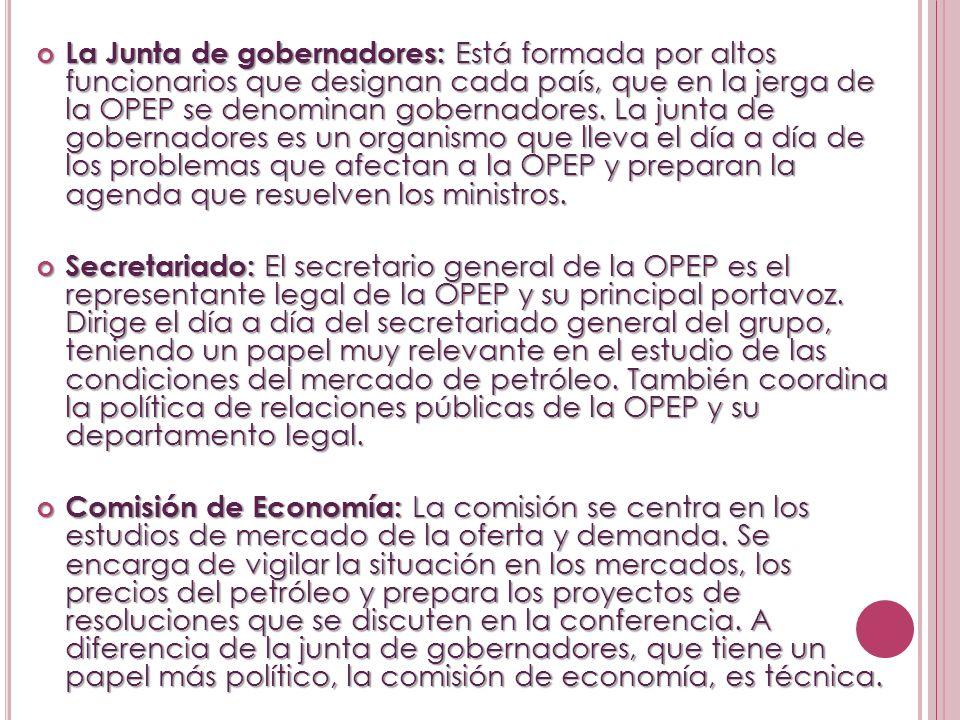 La Junta de gobernadores: Está formada por altos funcionarios que designan cada país, que en la jerga de la OPEP se denominan gobernadores. La junta d