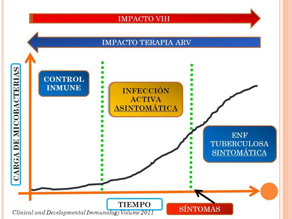 IMPACTO VIH IMPACTO TERAPIA ARV CONTROL INMUNE INFECCIÓN ACTIVA ASINTOMÁTICA INFECCIÓN ACTIVA ASINTOMÁTICA ENF TUBERCULOSA SINTOMÁTICA CARGA DE MICOBA