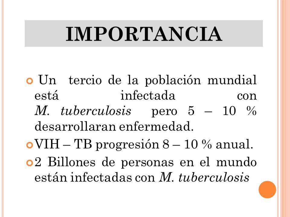 Un tercio de la población mundial está infectada con M. tuberculosis pero 5 – 10 % desarrollaran enfermedad. VIH – TB progresión 8 – 10 % anual. 2 Bil