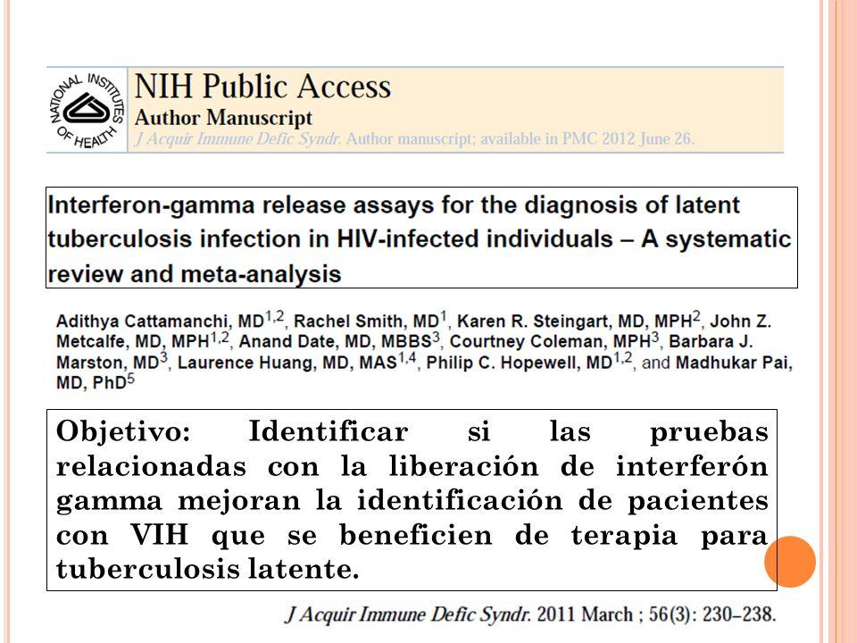 Objetivo: Identificar si las pruebas relacionadas con la liberación de interferón gamma mejoran la identificación de pacientes con VIH que se benefici