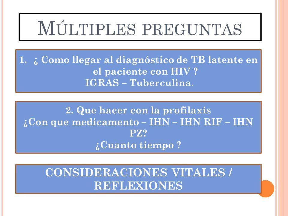 M ÚLTIPLES PREGUNTAS 1.¿ Como llegar al diagnóstico de TB latente en el paciente con HIV ? IGRAS – Tuberculina. 2. Que hacer con la profilaxis ¿Con qu