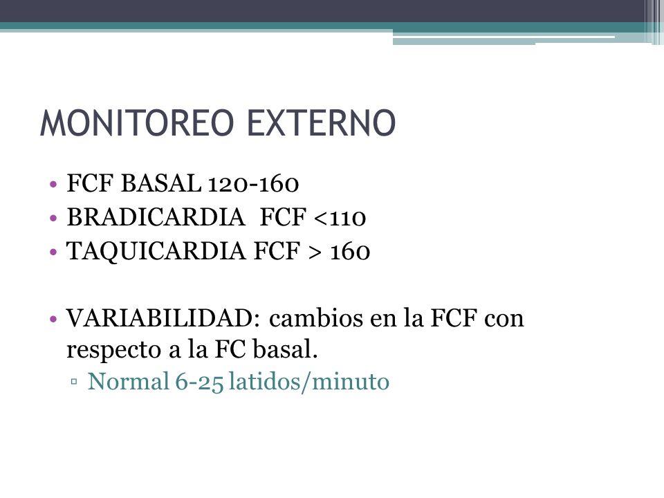 MONITOREO EXTERNO FCF BASAL 120-160 BRADICARDIA FCF <110 TAQUICARDIA FCF > 160 VARIABILIDAD: cambios en la FCF con respecto a la FC basal. Normal 6-25