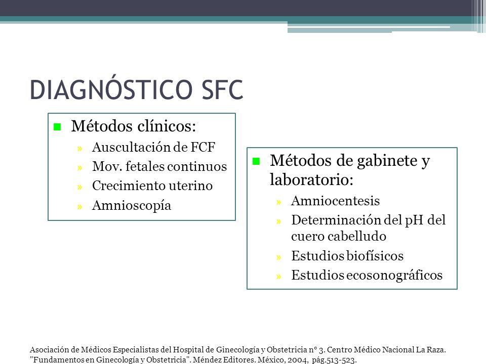 n Métodos clínicos: » Auscultación de FCF » Mov. fetales continuos » Crecimiento uterino » Amnioscopía n Métodos de gabinete y laboratorio: » Amniocen