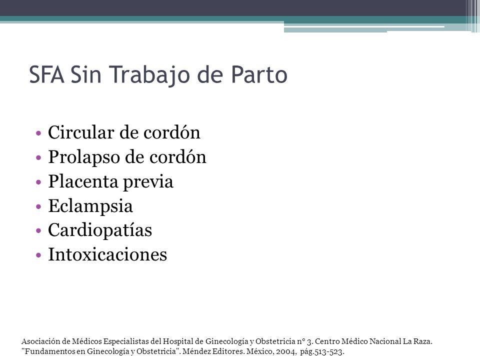 SFA Sin Trabajo de Parto Circular de cordón Prolapso de cordón Placenta previa Eclampsia Cardiopatías Intoxicaciones Asociación de Médicos Especialist