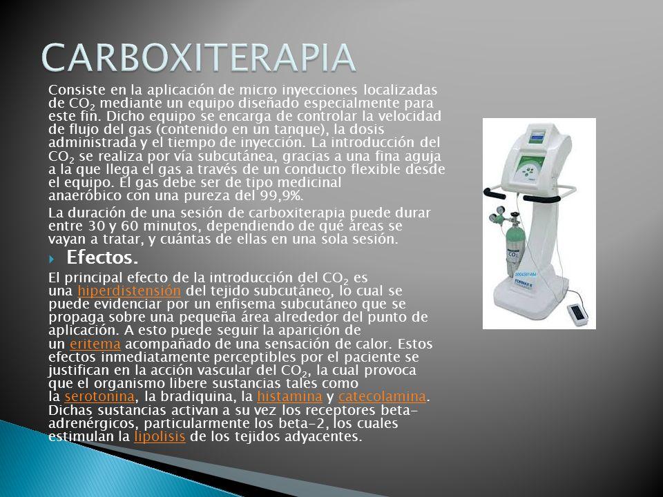 Consiste en la aplicación de micro inyecciones localizadas de CO 2 mediante un equipo diseñado especialmente para este fin. Dicho equipo se encarga de