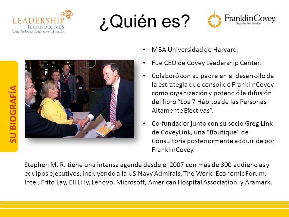 SU BIOGRAFÍA MBA Universidad de Harvard. Fue CEO de Covey Leadership Center. Colaboró con su padre en el desarrollo de la estrategia que consolidó Fra