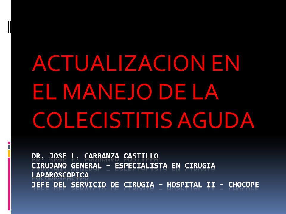 ACTUALIZACION EN EL MANEJO DE LA COLECISTITIS AGUDA