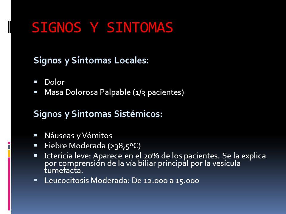 SIGNOS Y SINTOMAS Signos y Síntomas Locales: Dolor Masa Dolorosa Palpable (1/3 pacientes) Signos y Síntomas Sistémicos: Náuseas y Vómitos Fiebre Moderada (>38,5ºC) Ictericia leve: Aparece en el 20% de los pacientes.