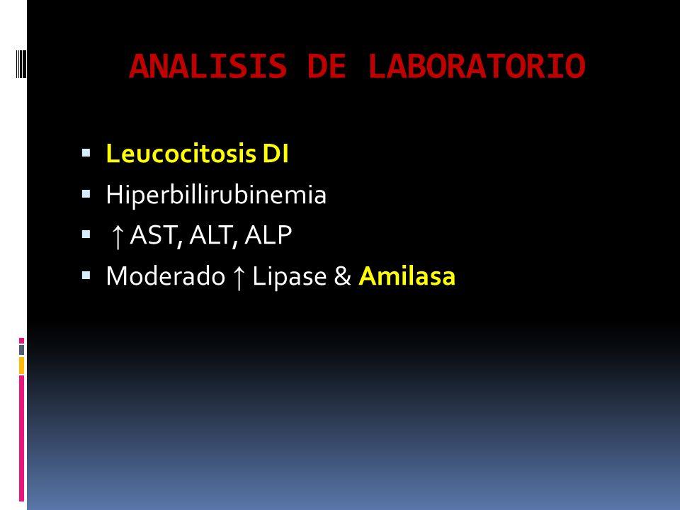 ANALISIS DE LABORATORIO Leucocitosis DI Hiperbillirubinemia AST, ALT, ALP Moderado Lipase & Amilasa