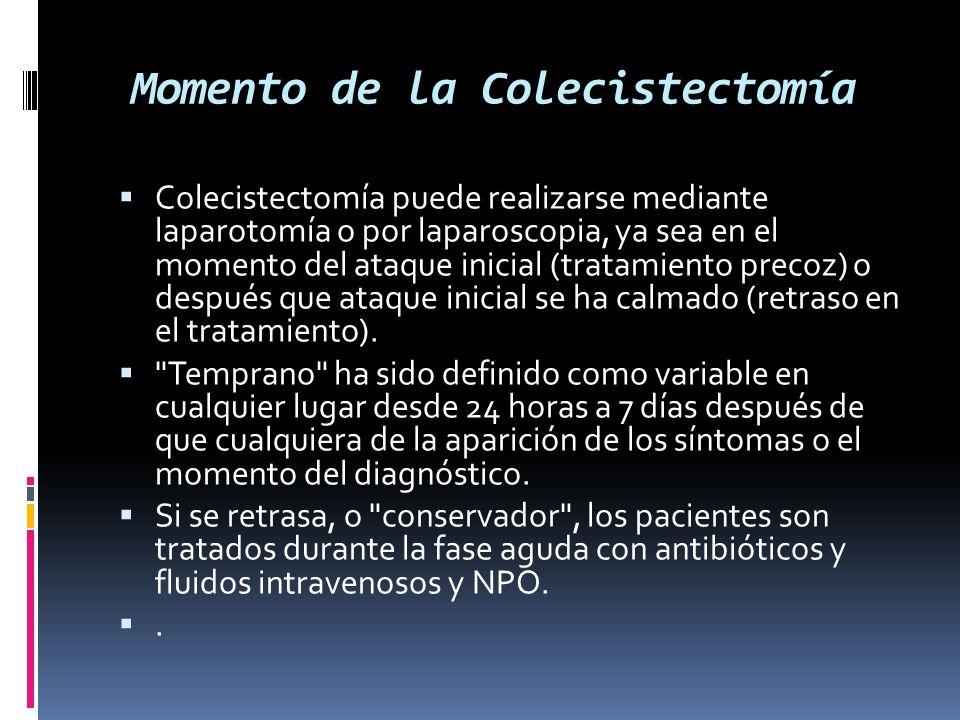 Momento de la Colecistectomía Colecistectomía puede realizarse mediante laparotomía o por laparoscopia, ya sea en el momento del ataque inicial (tratamiento precoz) o después que ataque inicial se ha calmado (retraso en el tratamiento).