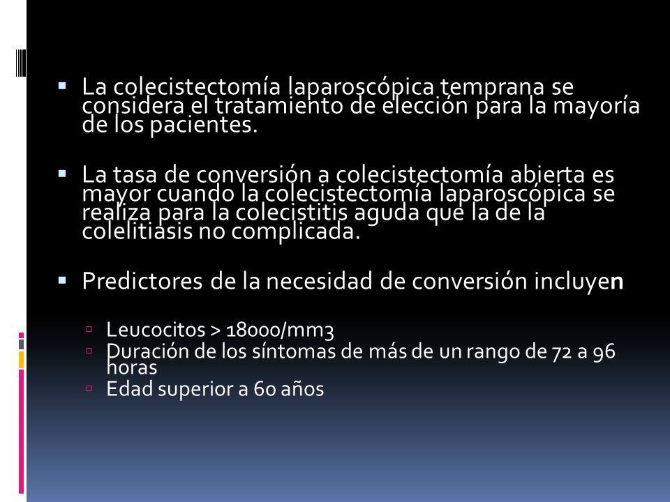 La colecistectomía laparoscópica temprana se considera el tratamiento de elección para la mayoría de los pacientes.