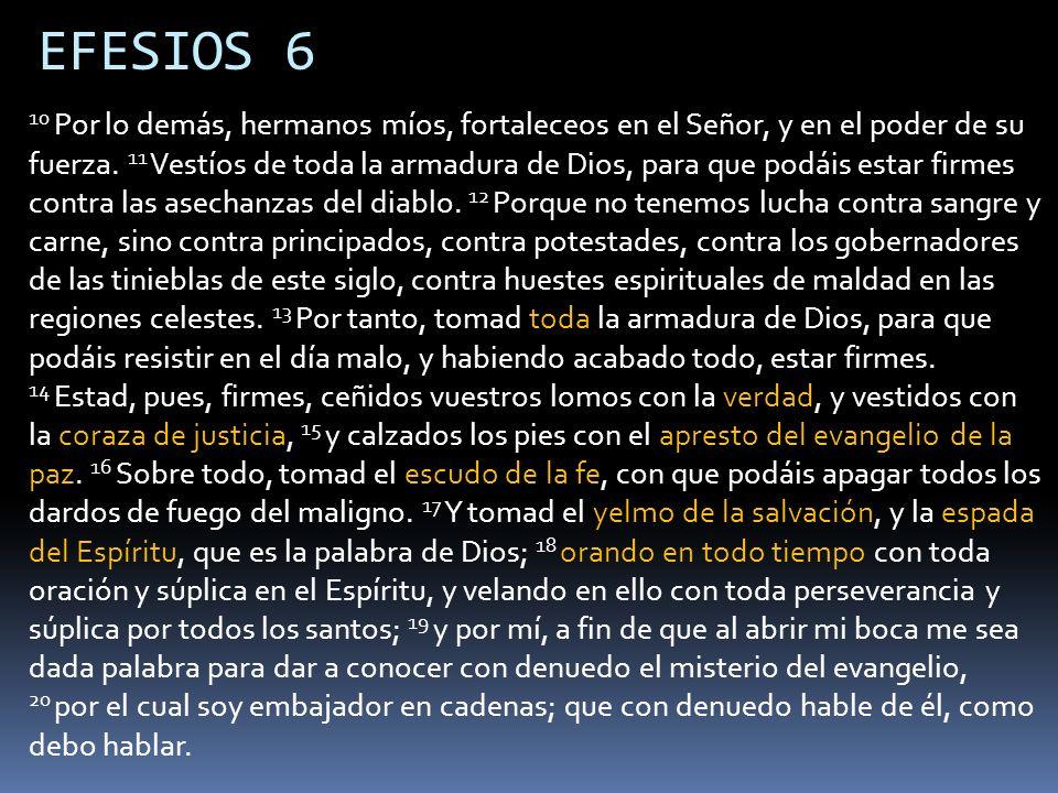 EFESIOS 6 10 Por lo demás, hermanos míos, fortaleceos en el Señor, y en el poder de su fuerza. 11 Vestíos de toda la armadura de Dios, para que podáis