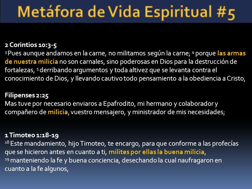 2 Corintios 10:3-5 3 Pues aunque andamos en la carne, no militamos según la carne; 4 porque las armas de nuestra milicia no son carnales, sino poderosas en Dios para la destrucción de fortalezas, 5 derribando argumentos y toda altivez que se levanta contra el conocimiento de Dios, y llevando cautivo todo pensamiento a la obediencia a Cristo, Filipenses 2:25 Mas tuve por necesario enviaros a Epafrodito, mi hermano y colaborador y compañero de milicia, vuestro mensajero, y ministrador de mis necesidades; 1 Timoteo 1:18-19 18 Este mandamiento, hijo Timoteo, te encargo, para que conforme a las profecías que se hicieron antes en cuanto a ti, milites por ellas la buena milicia, 19 manteniendo la fe y buena conciencia, desechando la cual naufragaron en cuanto a la fe algunos,