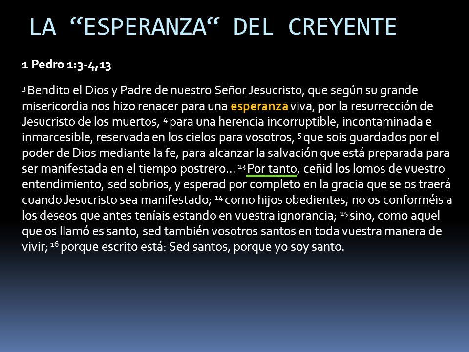 LA ESPERANZA DEL CREYENTE 1 Pedro 1:3-4,13 3 Bendito el Dios y Padre de nuestro Señor Jesucristo, que según su grande misericordia nos hizo renacer pa