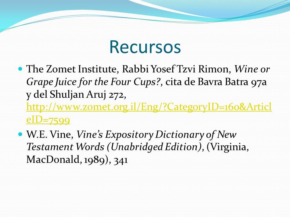 Recursos The Zomet Institute, Rabbi Yosef Tzvi Rimon, Wine or Grape Juice for the Four Cups?, cita de Bavra Batra 97a y del Shuljan Aruj 272, http://w