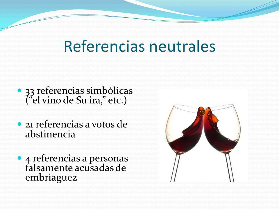 Referencias neutrales 33 referencias simbólicas (el vino de Su ira, etc.) 21 referencias a votos de abstinencia 4 referencias a personas falsamente ac