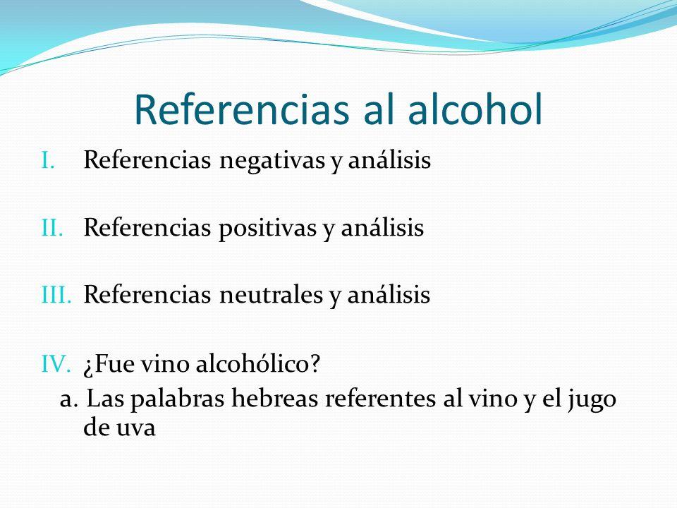 Referencias al alcohol I. Referencias negativas y análisis II. Referencias positivas y análisis III. Referencias neutrales y análisis IV. ¿Fue vino al