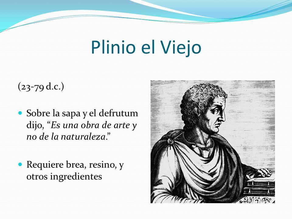 Plinio el Viejo (23-79 d.c.) Sobre la sapa y el defrutum dijo, Es una obra de arte y no de la naturaleza. Requiere brea, resino, y otros ingredientes