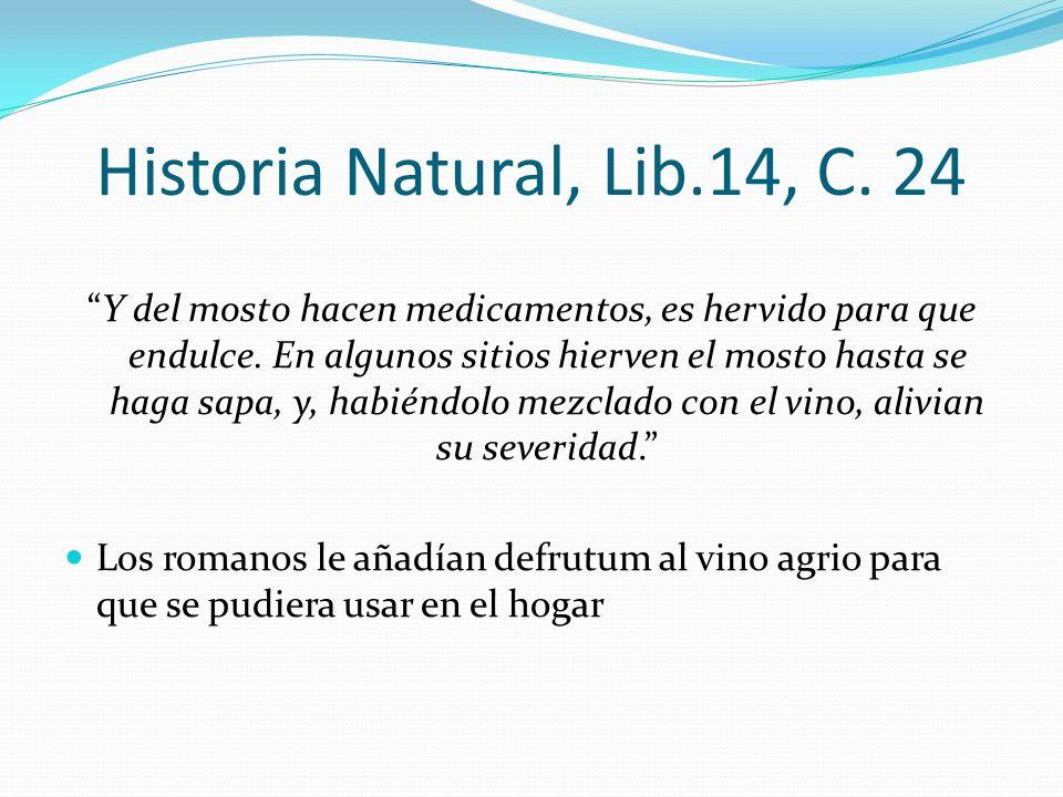 Historia Natural, Lib.14, C. 24 Y del mosto hacen medicamentos, es hervido para que endulce. En algunos sitios hierven el mosto hasta se haga sapa, y,
