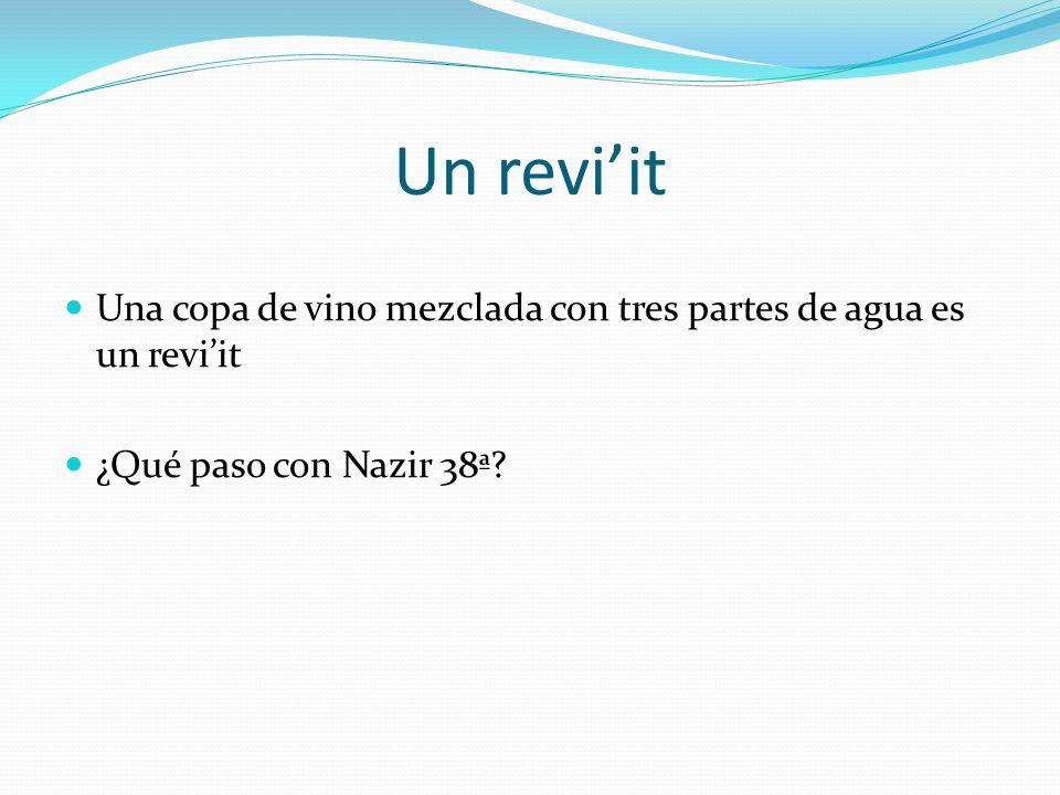 Un reviit Una copa de vino mezclada con tres partes de agua es un reviit ¿Qué paso con Nazir 38ª?