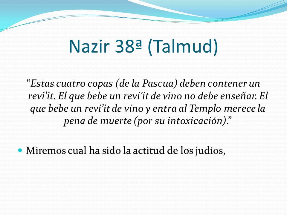 Nazir 38ª (Talmud) Estas cuatro copas (de la Pascua) deben contener un reviit. El que bebe un reviit de vino no debe enseñar. El que bebe un reviit de