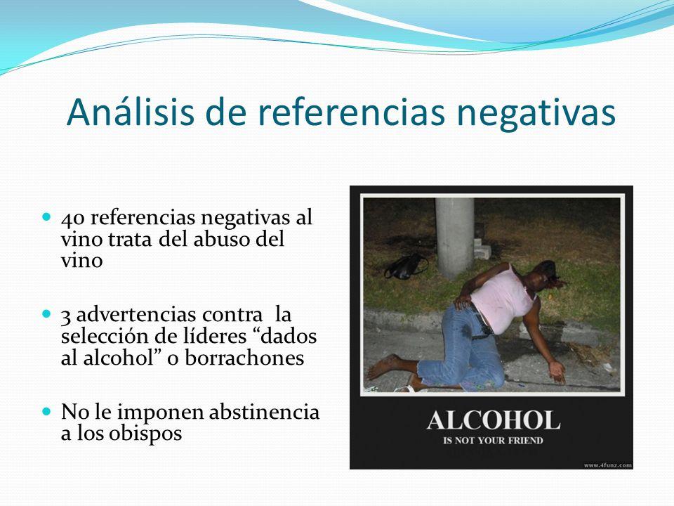 Análisis de referencias negativas 40 referencias negativas al vino trata del abuso del vino 3 advertencias contra la selección de líderes dados al alc
