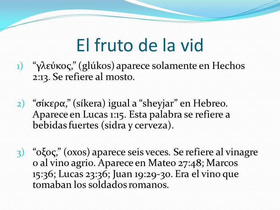 El fruto de la vid 1) γλεύκος, (glúkos) aparece solamente en Hechos 2:13. Se refiere al mosto. 2) σίκερα, (síkera) igual a sheyjar en Hebreo. Aparece