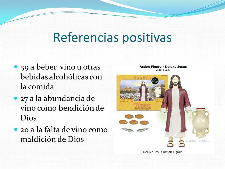 Referencias positivas 59 a beber vino u otras bebidas alcohólicas con la comida 27 a la abundancia de vino como bendición de Dios 20 a la falta de vin