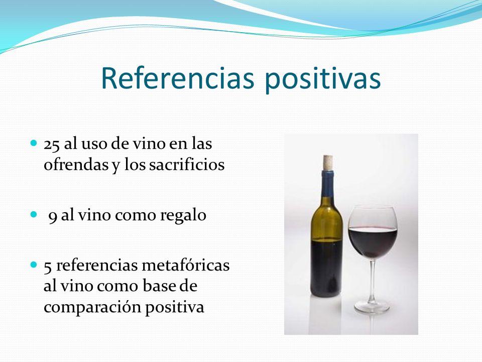 Referencias positivas 25 al uso de vino en las ofrendas y los sacrificios 9 al vino como regalo 5 referencias metafóricas al vino como base de compara