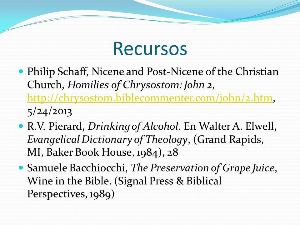 Recursos Philip Schaff, Nicene and Post-Nicene of the Christian Church, Homilies of Chrysostom: John 2, http://chrysostom.biblecommenter.com/john/2.ht