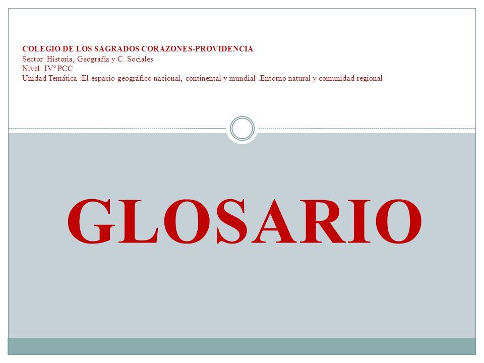 GLOSARIO COLEGIO DE LOS SAGRADOS CORAZONES-PROVIDENCIA Sector: Historia, Geografía y C. Sociales Nivel: IVº PCC Unidad Temática :El espacio geográfico