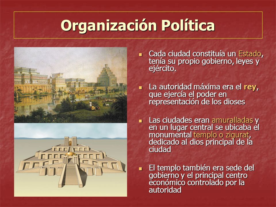 Organización Política Cada ciudad constituía un Estado, tenía su propio gobierno, leyes y ejército.