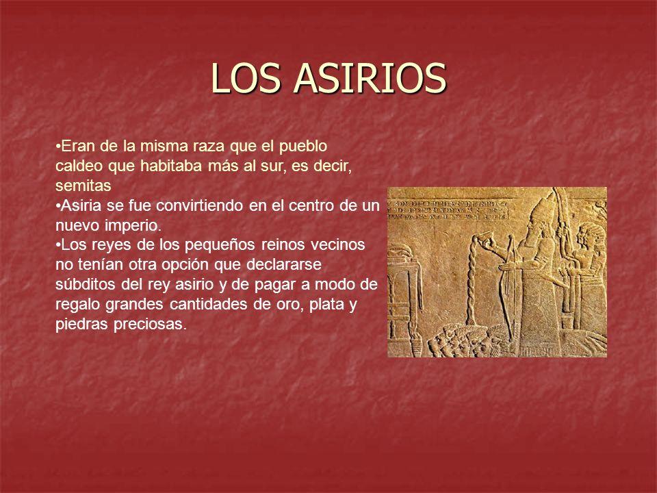 LOS ASIRIOS Eran de la misma raza que el pueblo caldeo que habitaba más al sur, es decir, semitas Asiria se fue convirtiendo en el centro de un nuevo